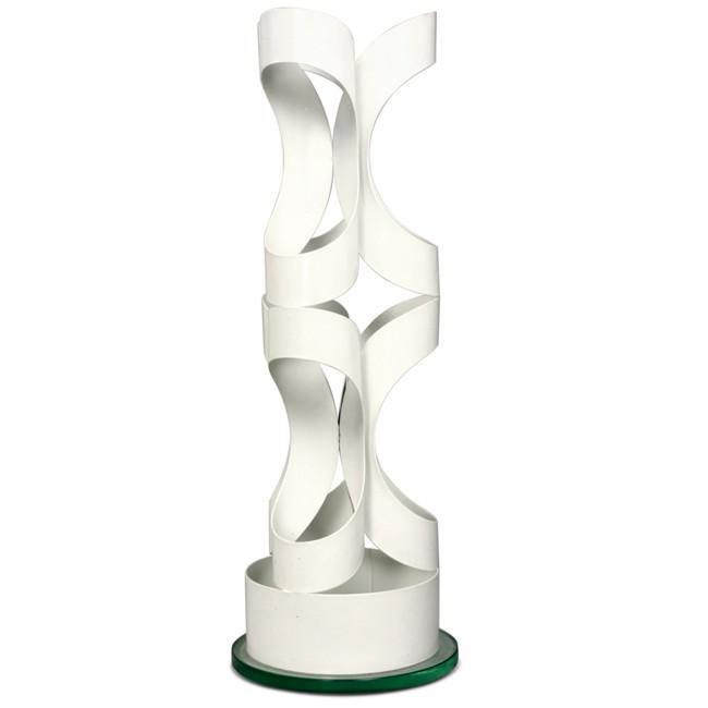 White Metal Abstract Cutout Cylinder Sculpture