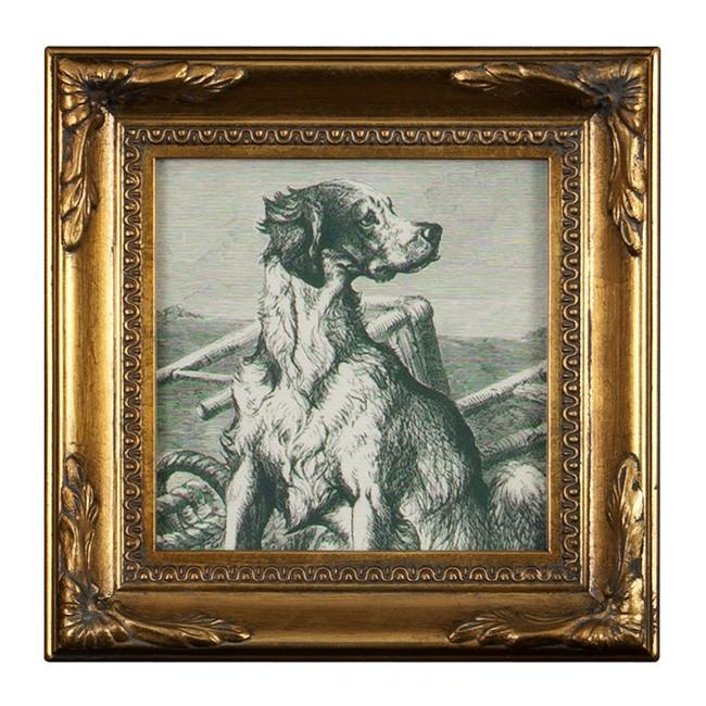 "BFA 100-191 Dog Square Decorative Gold (7.5"" x 7.5"")"