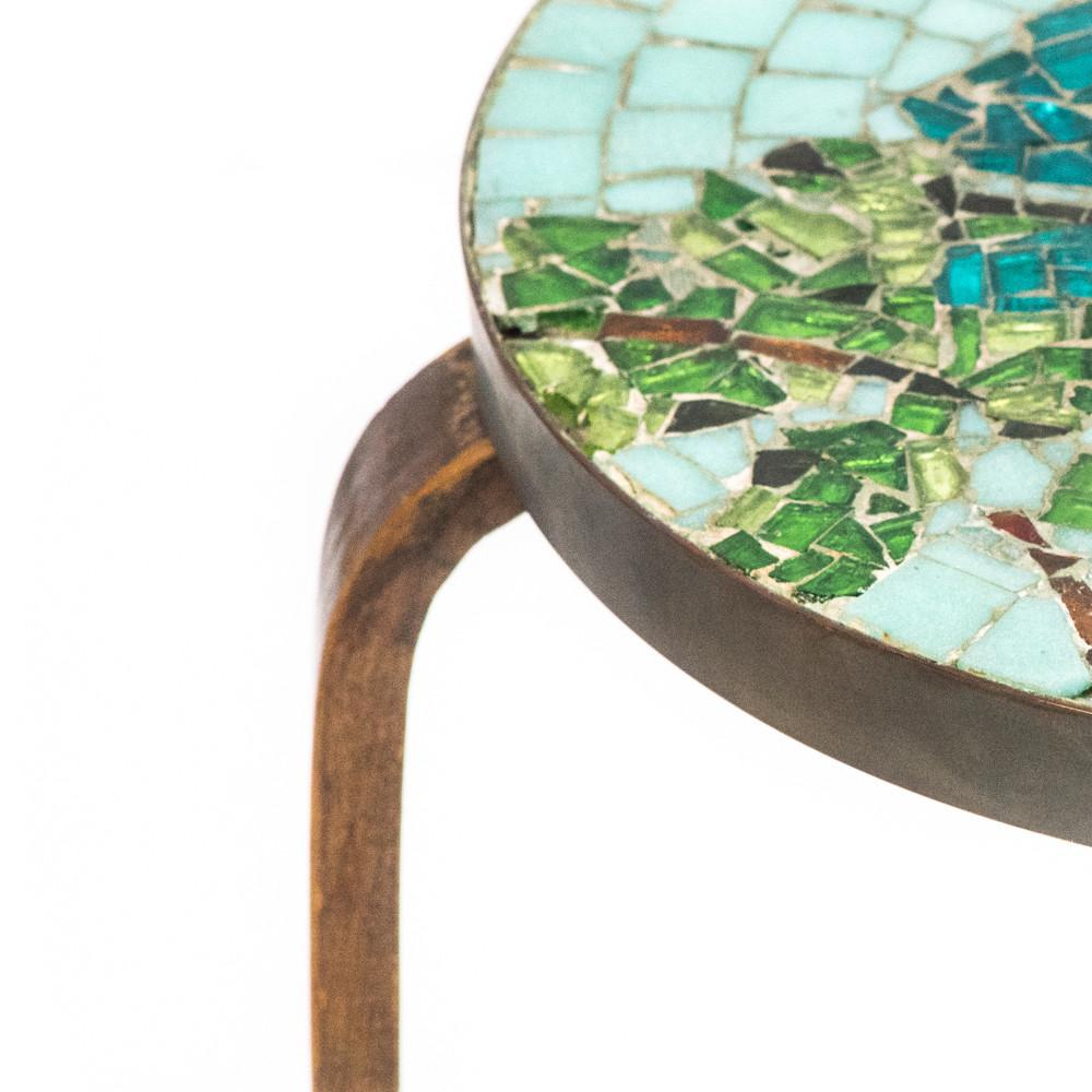 Mosaic Round Wood Side Table