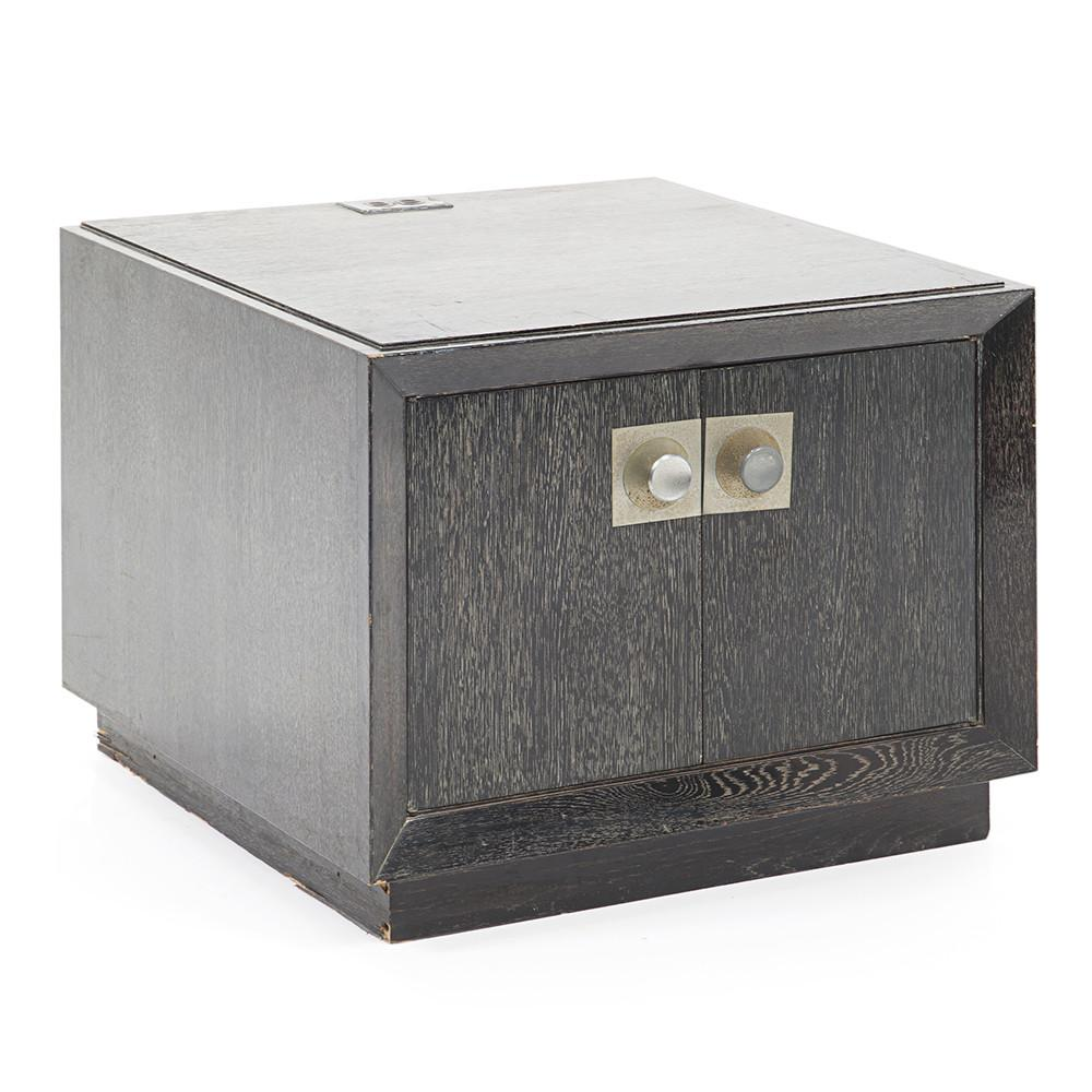 Charcoal Wood Bedside Table Cabinet