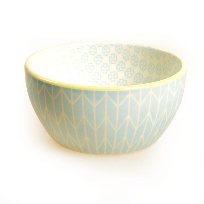 Blue Aqua BFA Ceramic Dip Bowl Patterned