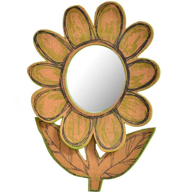 Tan and Green Flower Wall Mirror