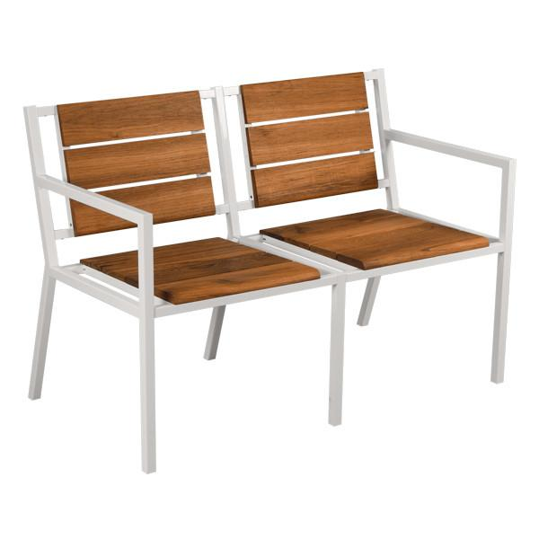 Modernica White Teak Double Chair With Arms