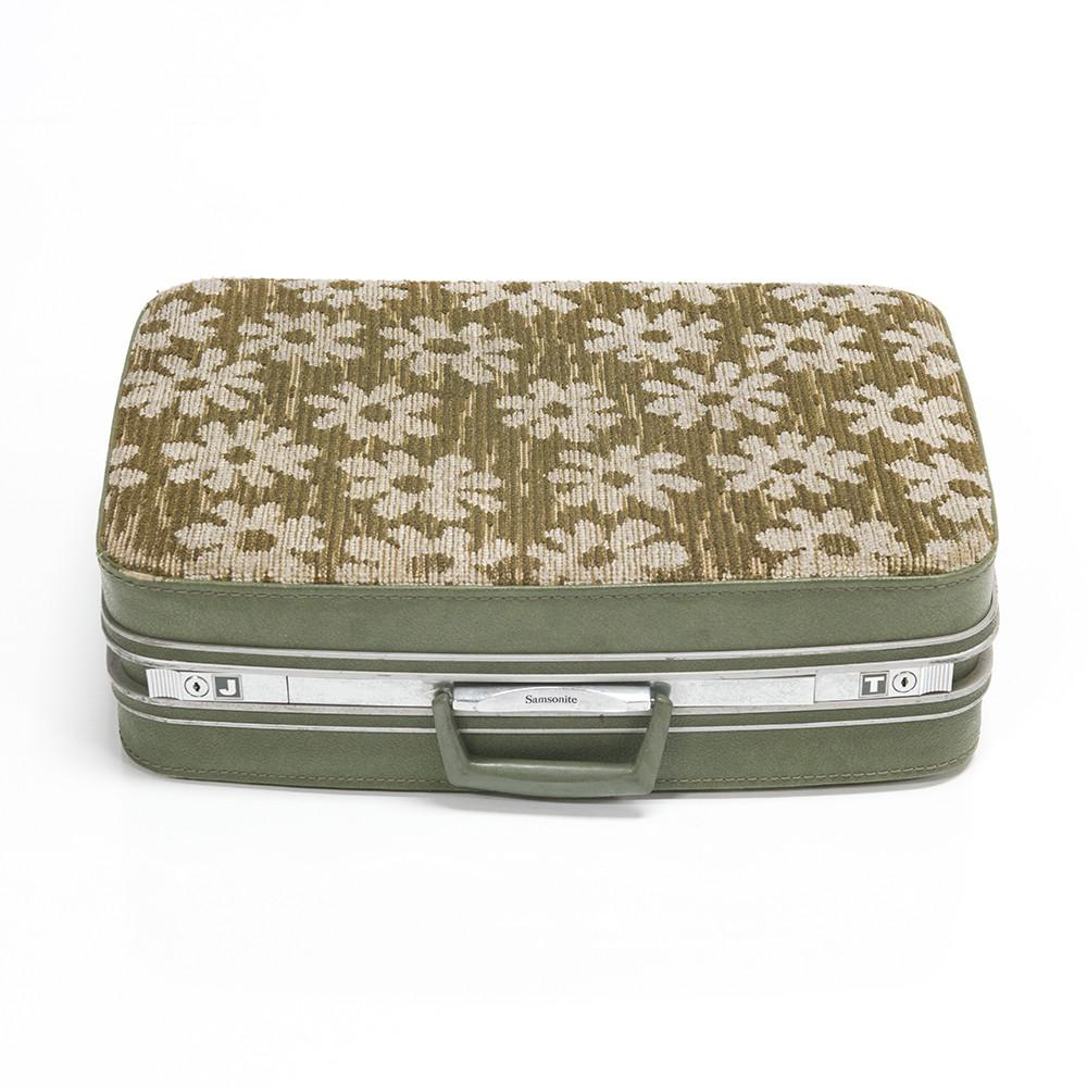 Beige Floral Patterned Luggage