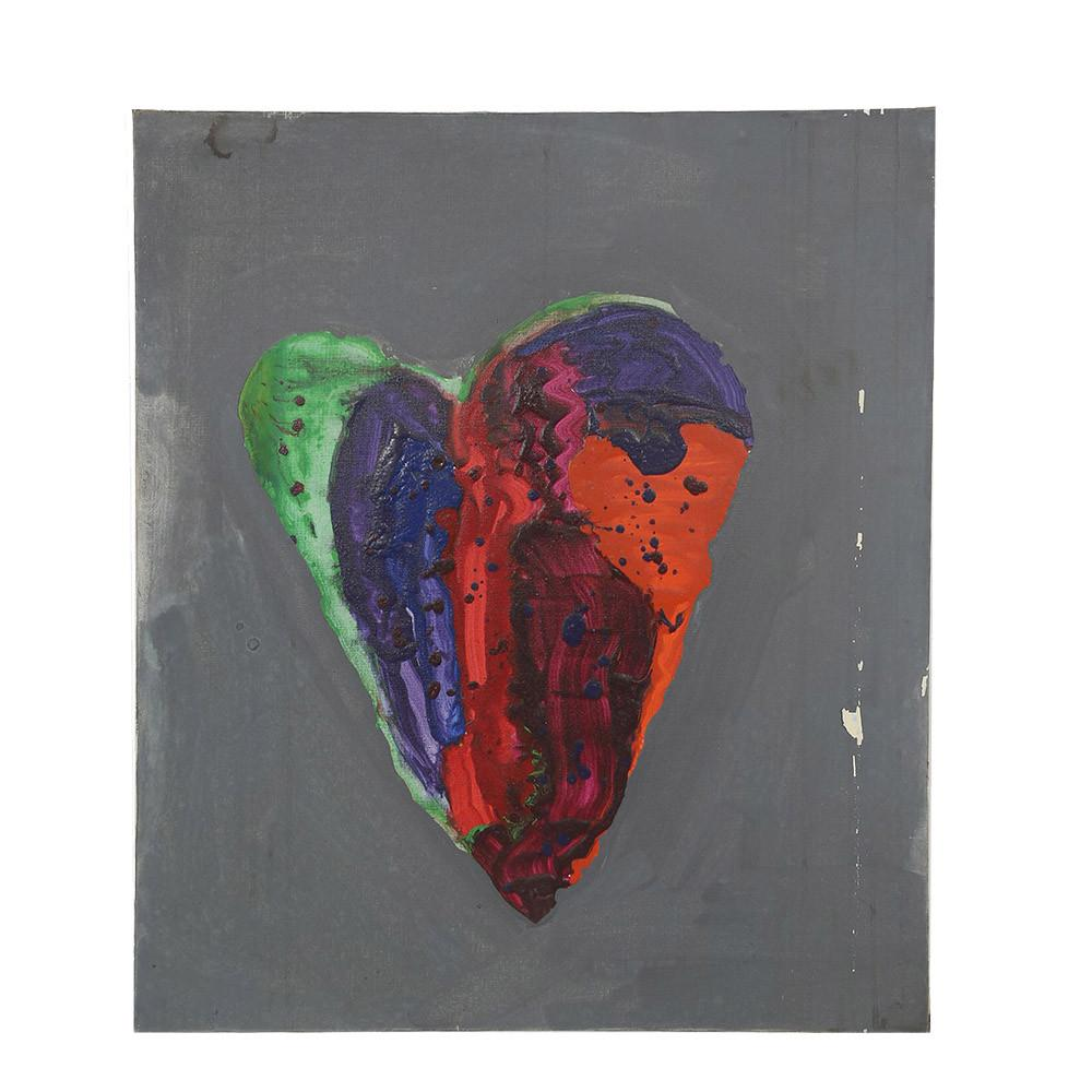 Colorful Paint Splatter Heart on Grey