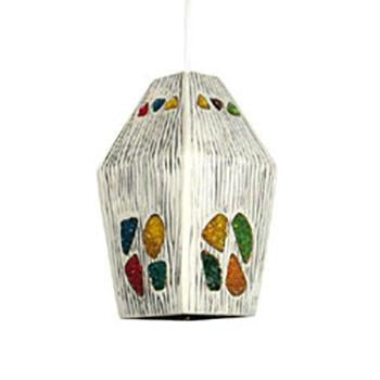 White with Multicolored Stones Hanging Lamp