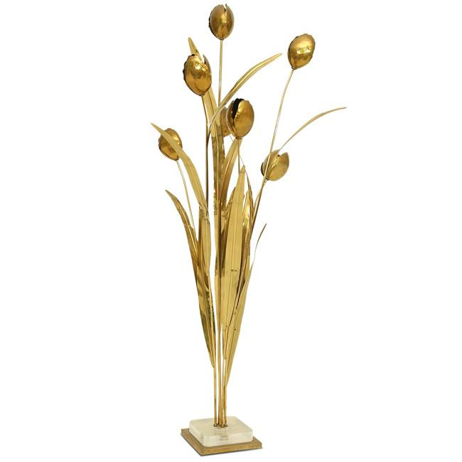 Brass Flowers with Lucite Base
