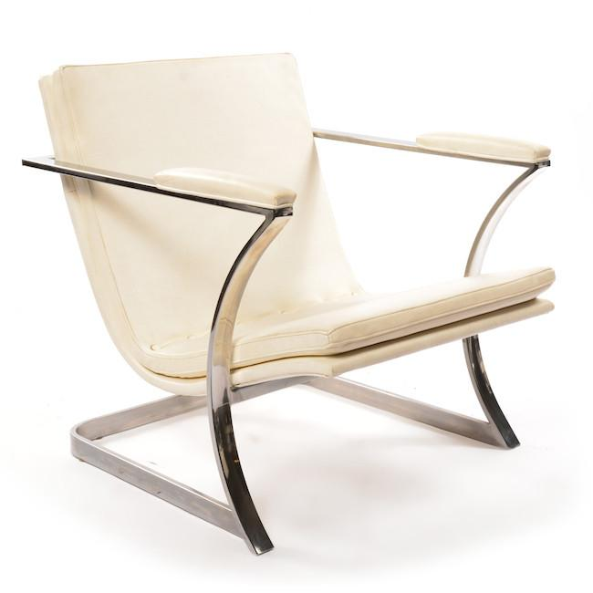 White Arm Chair with Concave Legs