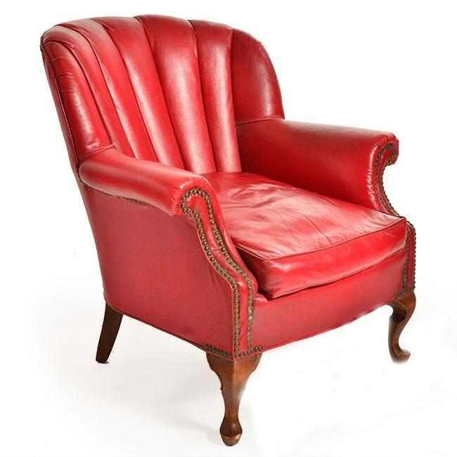 Red Leather Shell Back Armchair