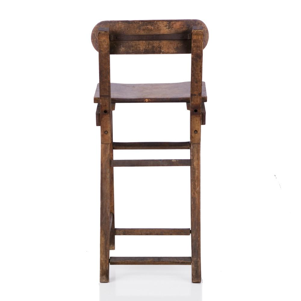 Distressed Wooden Stool Chair