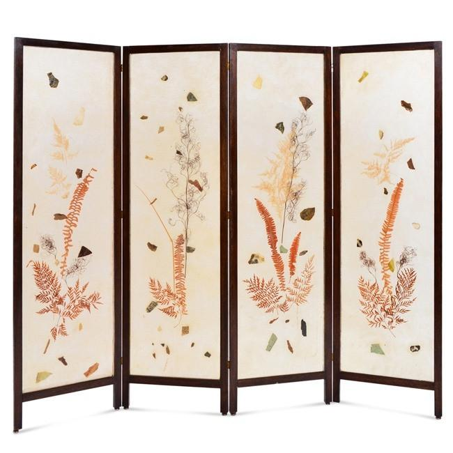 Folding White Screen with Leaves