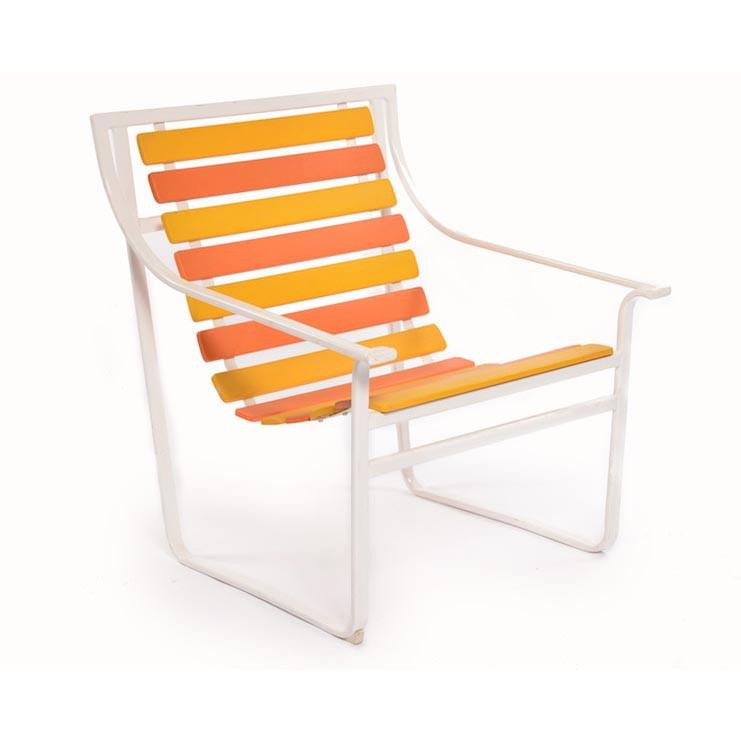 Yellow and Orange Slatted Outdoor Chair