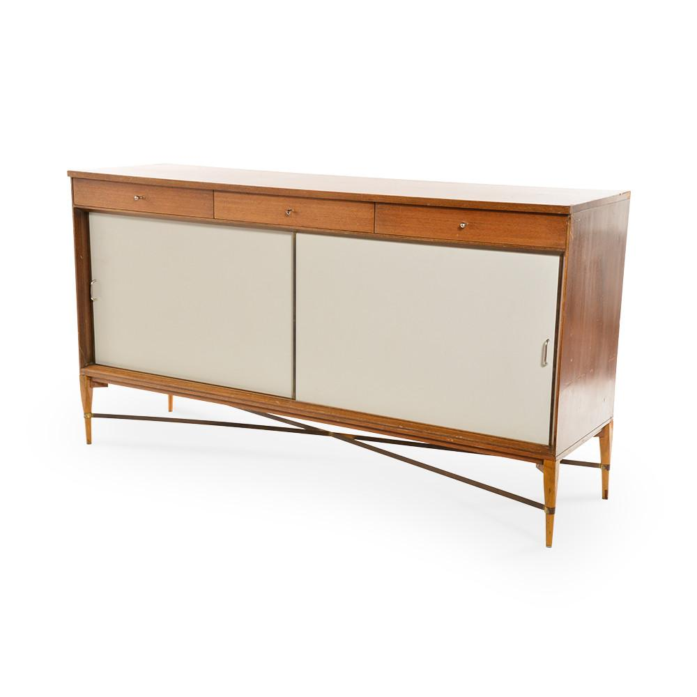 Wood and White Door Paul McCobb Credenza