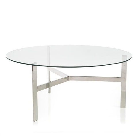 Chrome 3 Leg Glass Top Table