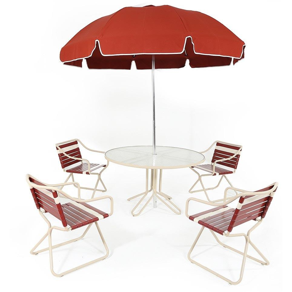 Maroon Outdoor Patio Table + Chairs + Umbrella Set
