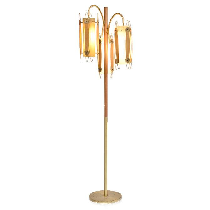 Brass and Wood Hanging Triple Pendant Floor Lamp