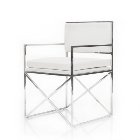 Chrome X with White Cushion Chair