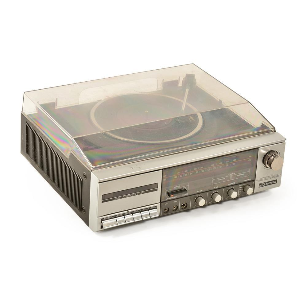 Emerson Silver Turntable with Clear Plexi Lid