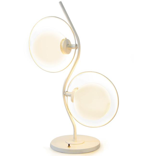 White Wave Double Orb Table Light
