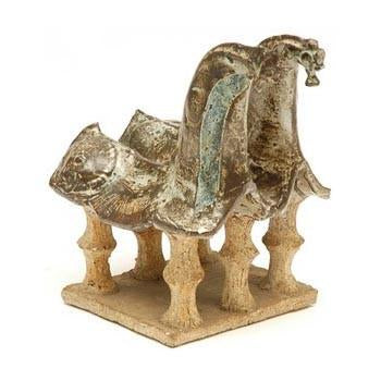 Beige Double Horse Sculpture