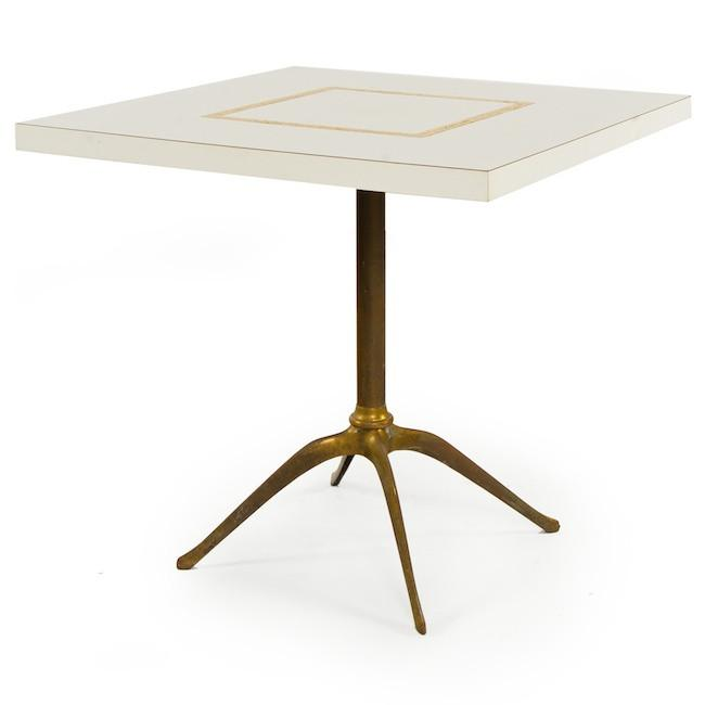 Square White & Gold Dining Table