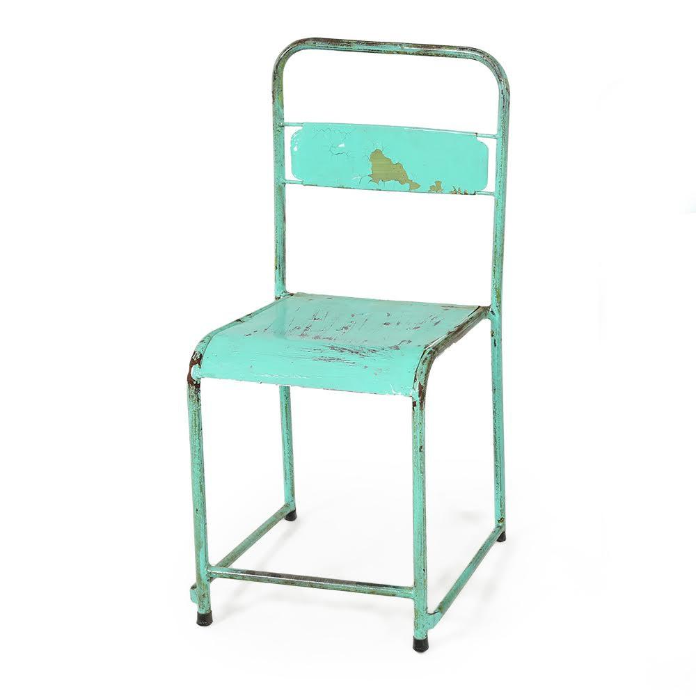 Seafoam Green Rustic Metal Chair