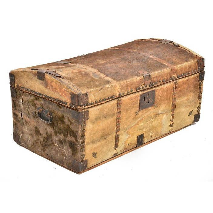 Rustic Brown Leather Trunk