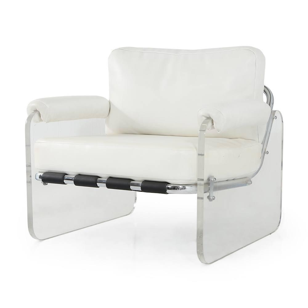 Lucite Box Legs Lounge Chair