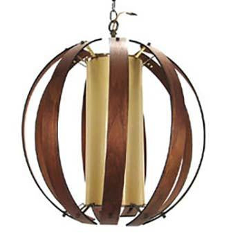 Round Walnut Curved Straps Hanging Pendant