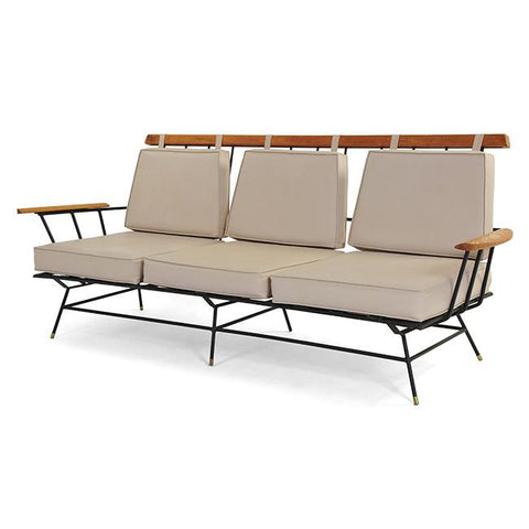 Beige Leather + Black Wire Outdoor Sofa