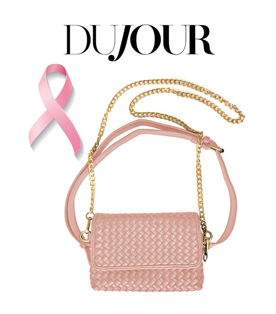 Dujour Lulu Dharma Pink Crossbody Bag Feature for Breast Cancer Awareness Month