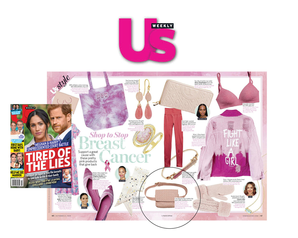US Weekly Magazine, Lulu Dharma Pink Belt Bag Feature