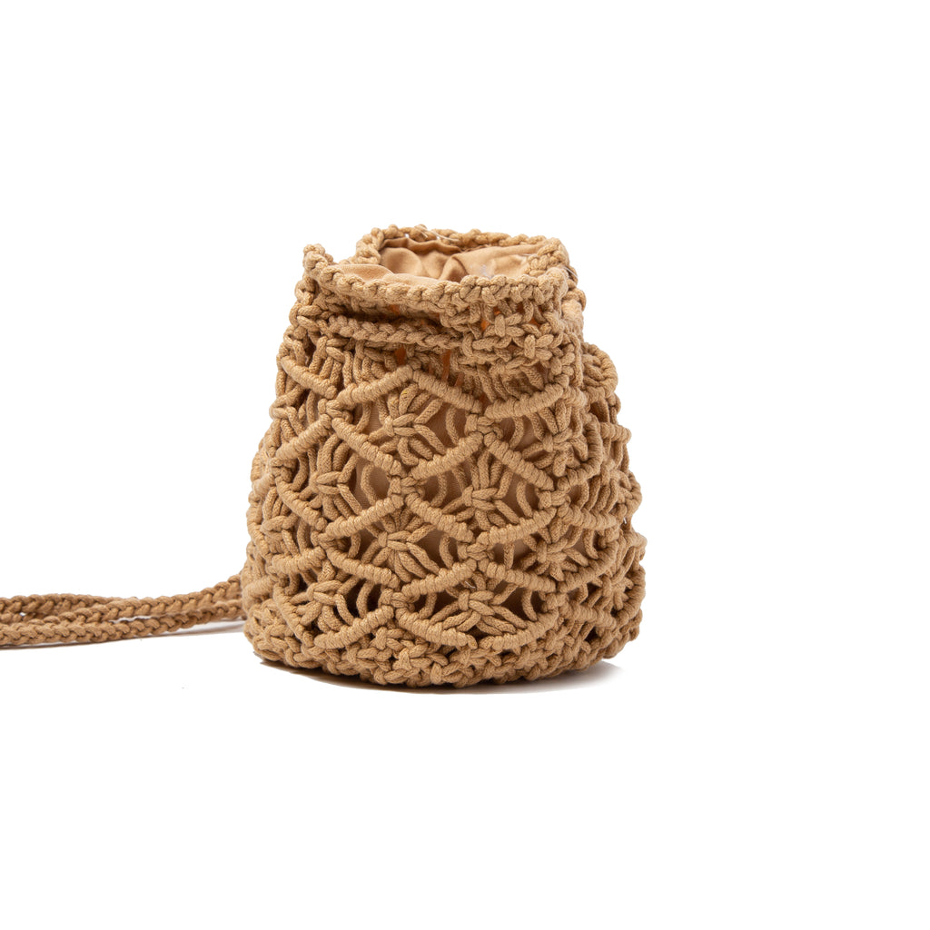 Natural Crochet Knit Drawstring Backpack