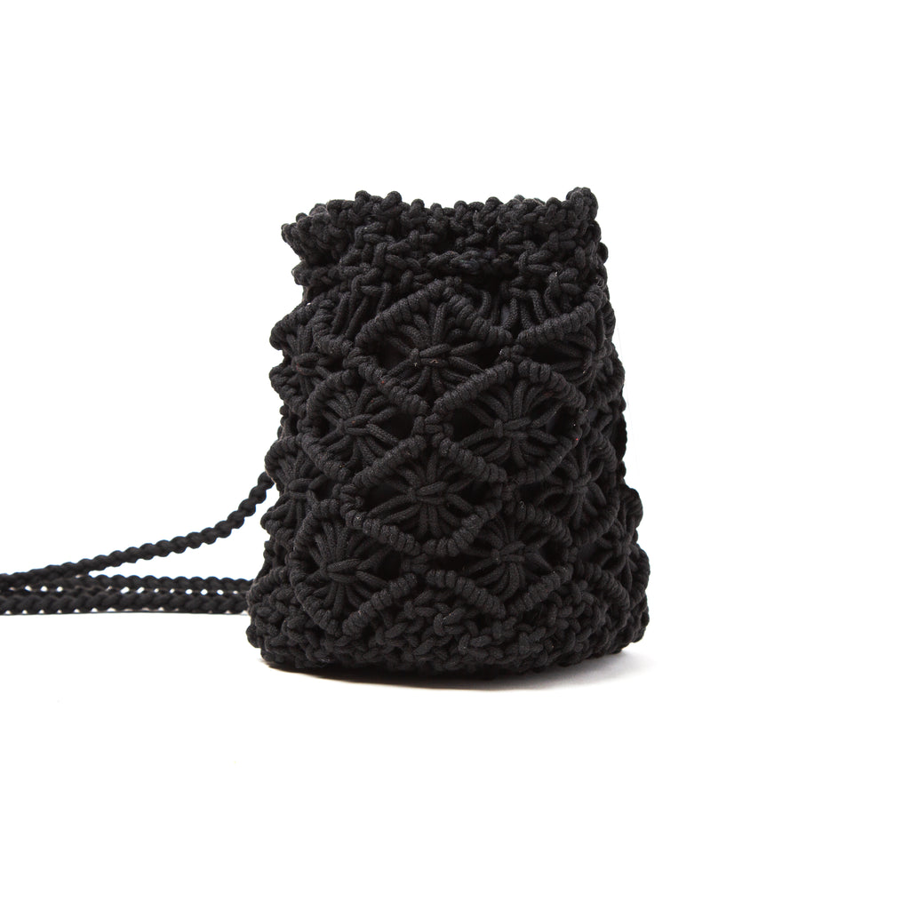 Black Crochet Knit Drawstring Backpack