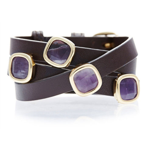 AMETHYST AND BROWN LEATHER GEMSTONE WRAP BRACELET
