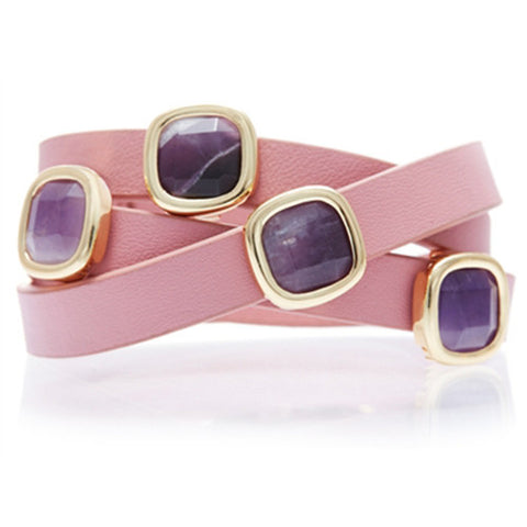 AMETHYST AND PINK LEATHER GEMSTONE WRAP BRACELET