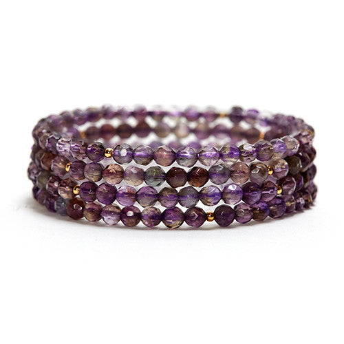 AMETHYST LAYERING GEMSTONE STRETCH BRACELET