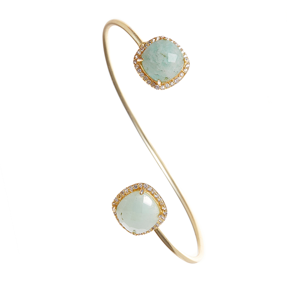 Amazonite Gemstone & Crystal Bangle