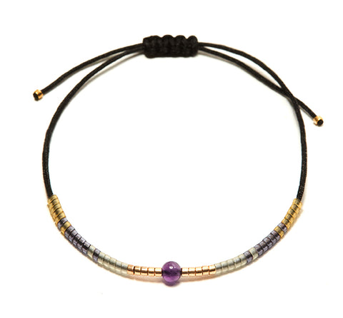 Amethyst Andalusia Black String Bracelet