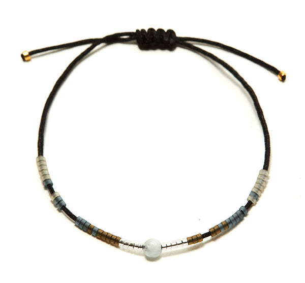 Aquamarine Andalusia Black String Bracelet
