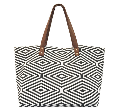 BLACK AND WHITE DIAMOND PRINT TOTE BAG
