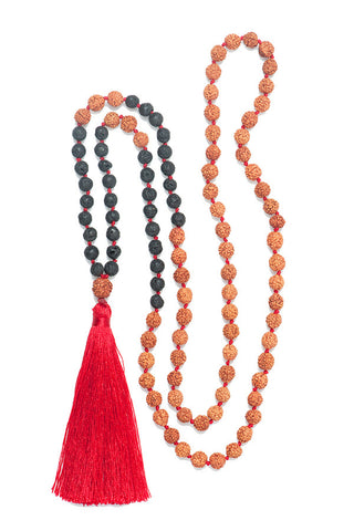 Black Lava and Rudraksha Tassel Mala