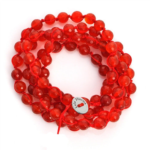 Faceted Carnelian Braided Wrap Bracelet/Necklace