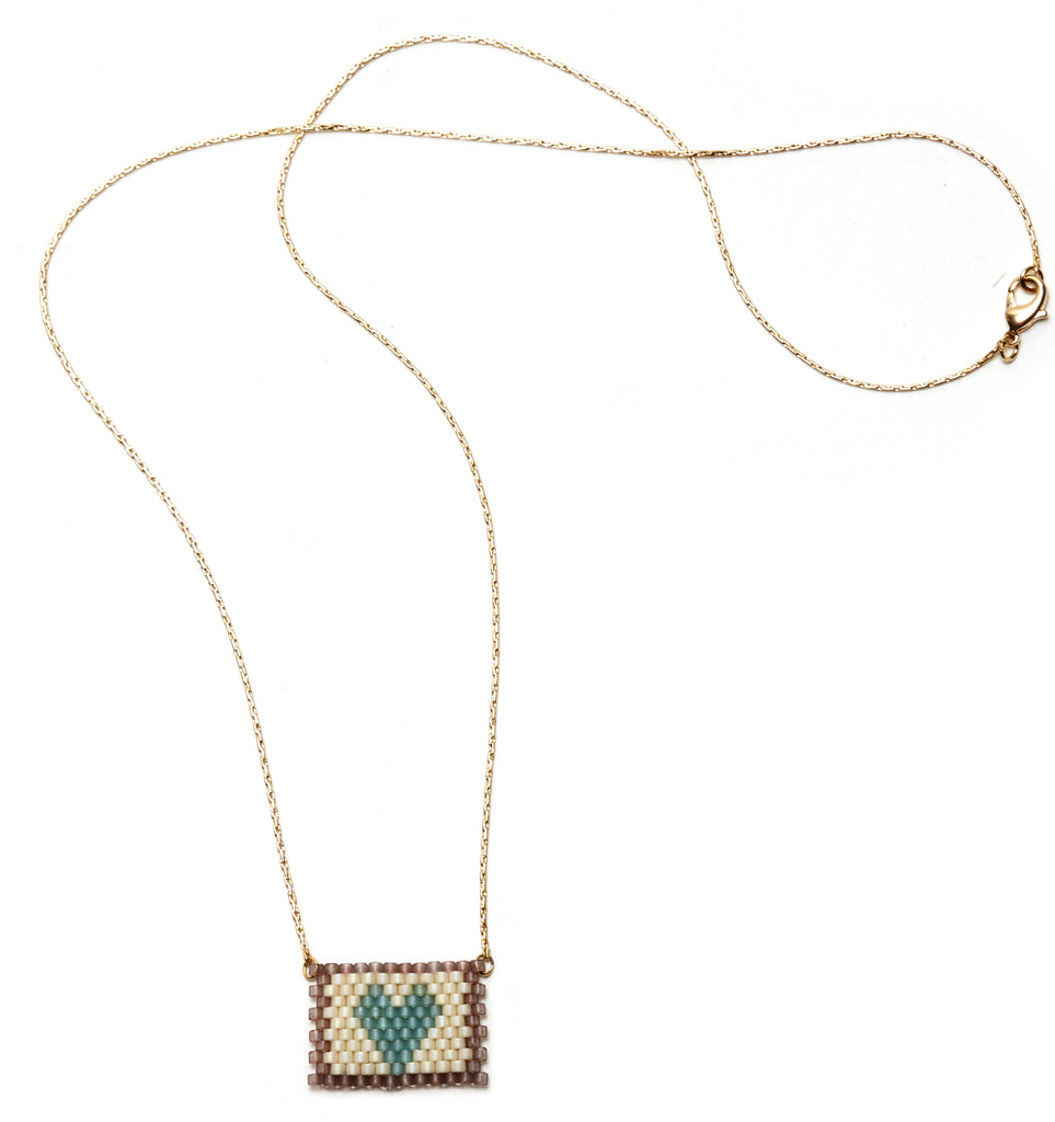 Blue Heart on Cream / Taupe Beaded Heart Necklace