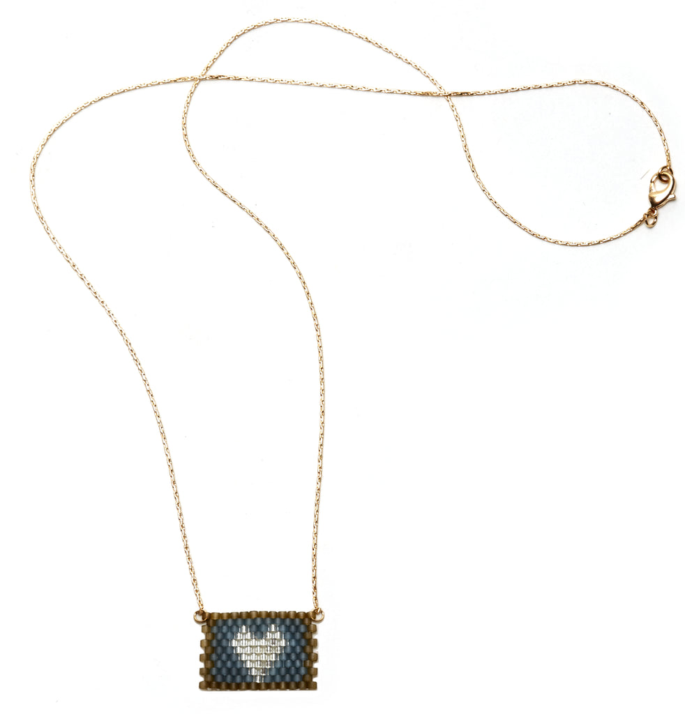 Silver Heart on Blue / Morel Beaded Heart Necklace