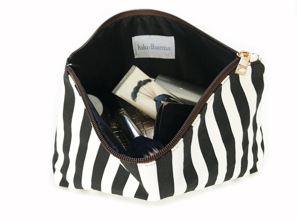 Black Striped Cosmetic Bag