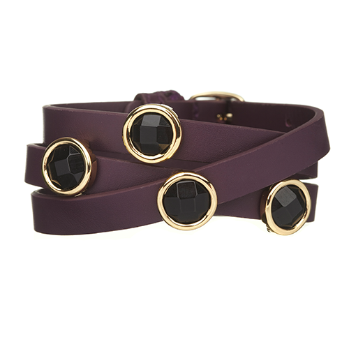 Black Onyx and Purple LEATHER GEMSTONE WRAP BRACELET