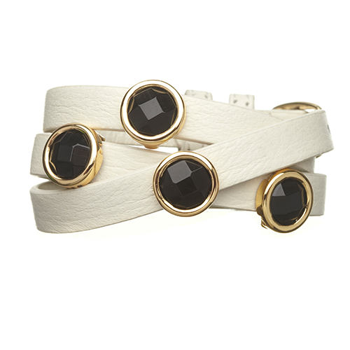 Black Onyx and White LEATHER GEMSTONE WRAP BRACELET