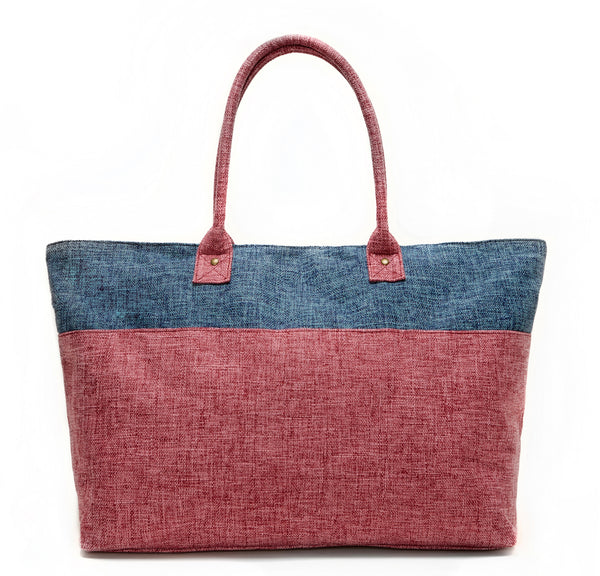 BLUE AND PINK DUEL LINEN TOTE BAG