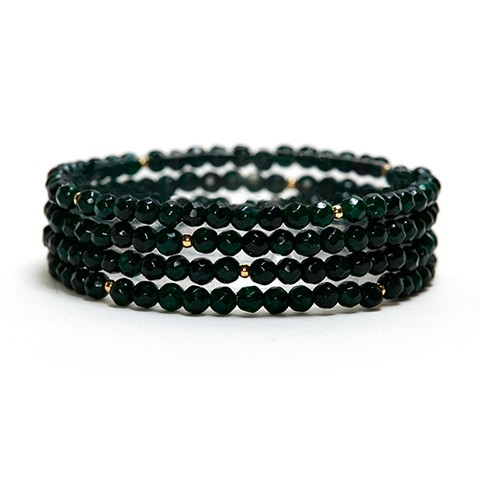 DARK GREEN CHALCEDONY LAYERING GEMSTONE STRETCH BRACELET
